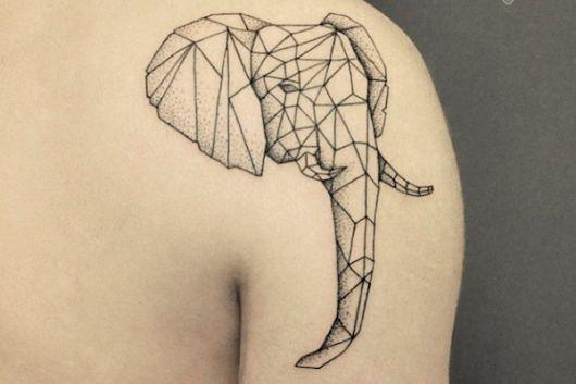 tatuagem geométrica elefante animal