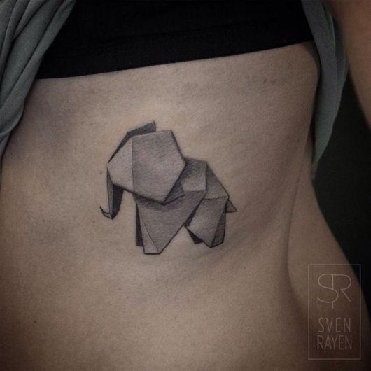 tatuagem geométrica elefante