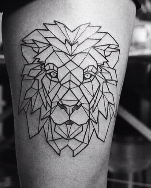 tatuagem geométrica leão