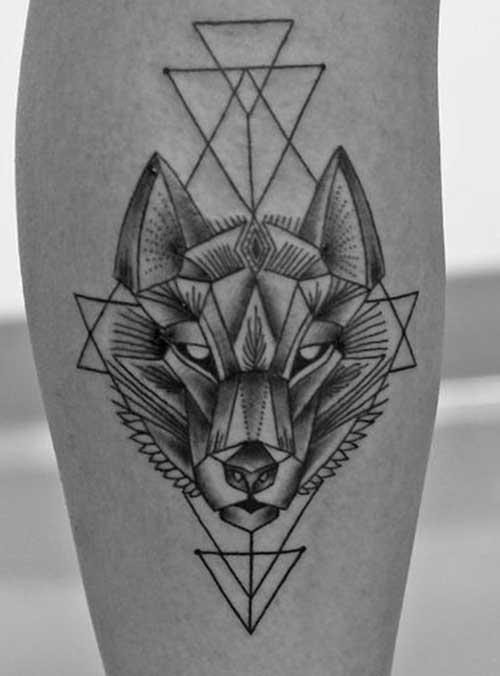 tatuagem geométrica lobo