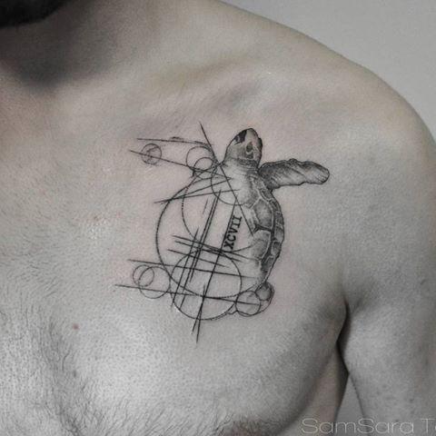 tatuagem geométrica tartaruga