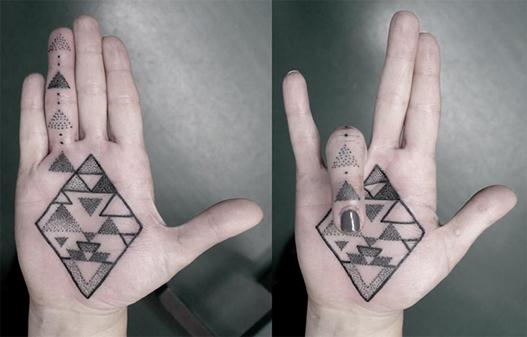 tatuagens com pontilhismo geometria