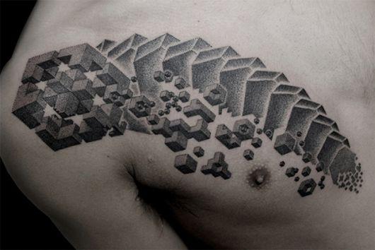 tatuagens com pontilhismo masculina