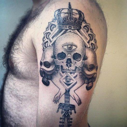 tatuagens com pontilhismo realista homens