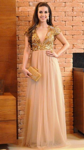 traje passeio completo feminino dourado