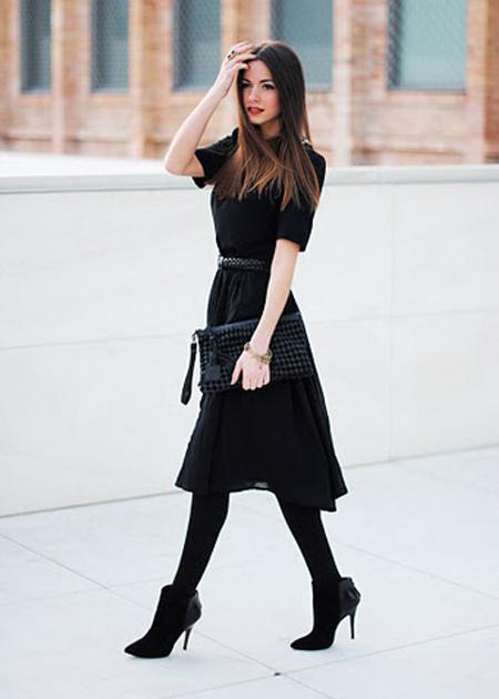 traje passeio completo feminino inverno preto