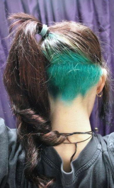 cabelo raspado verde
