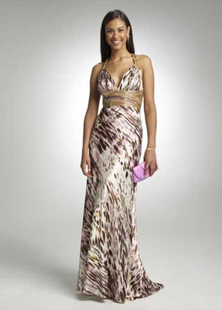 Vestido longo estampado para festa de casamento