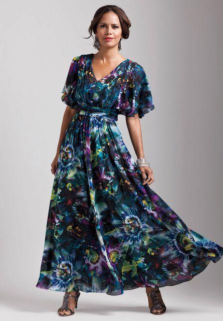 vestido de cetim longo estampado