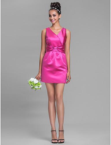vestido de cetim curto tubinho
