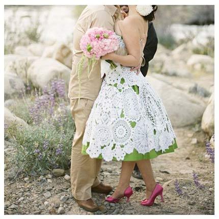 vestido de noiva de crochê forro colorido