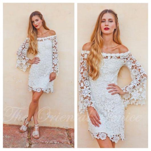 vestido de noiva de crochê forro hippie