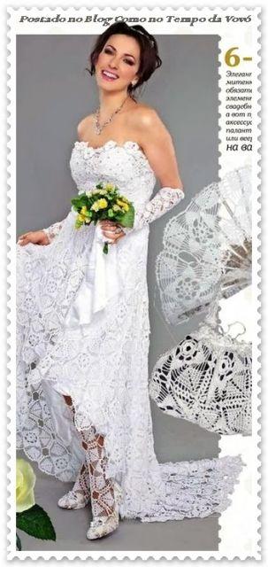 vestido de noiva de crochê gráfico 2