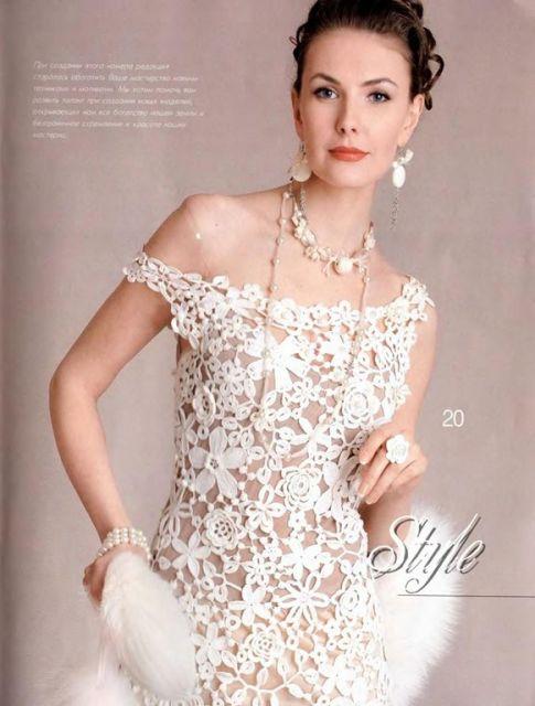 vestido de noiva de crochê gráfico modelo