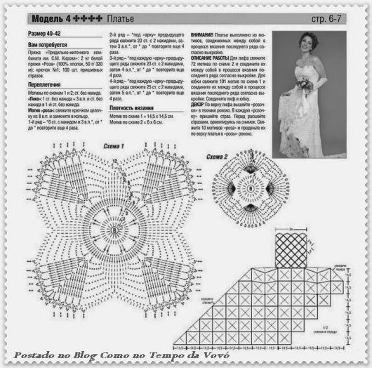 vestido de noiva de crochê gráfico passo a passo 2