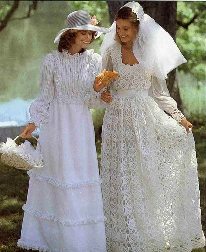 vestido de noiva de crochê rodado