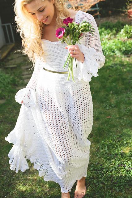 vestido de noiva de crochê soltinho