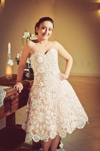 vestido de noiva de crochê tipo irlandês