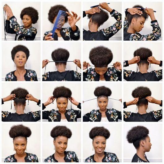 tutorial afro puff