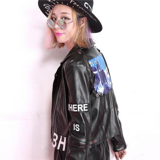 jaquetas com patches couro escritos
