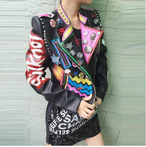jaquetas com patches de couro rock n roll