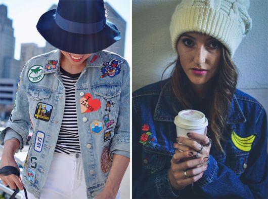 jaquetas com patches jeans divertida