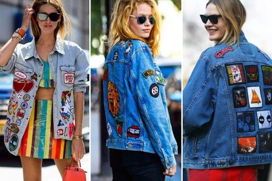jaquetas com patches jeans rock n roll