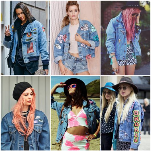 jaquetas com patches jeans várias