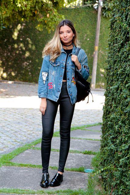 jaquetas com patches legging