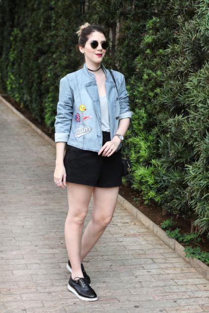 jaquetas com patches saia preta