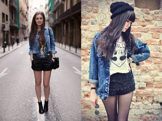 looks outono com jeans azul