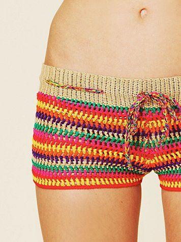 short de crochê colorido