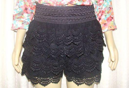 short de crochê cintura alta