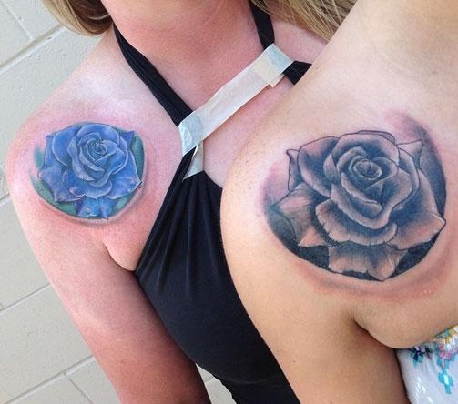 tatuagem mãe e filha flor