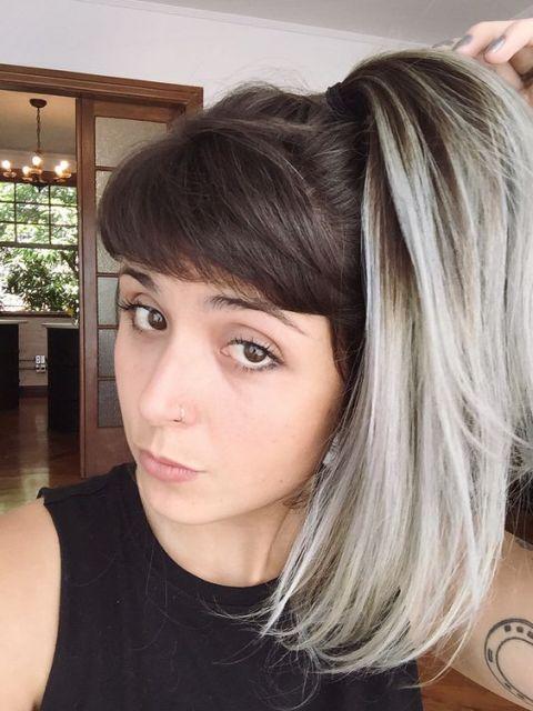 cabelo com franja e ombré hair