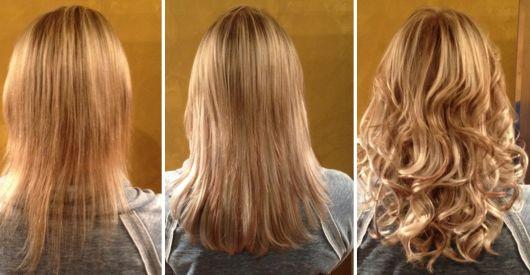 alongamento cabelo loiro