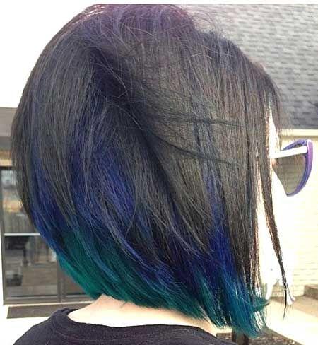 cabelo colorido verde e azul