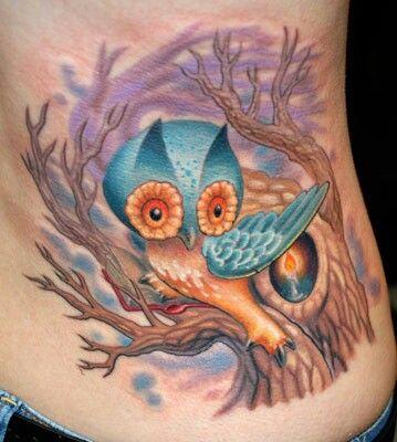 tatuagem-de-arvore-coruja