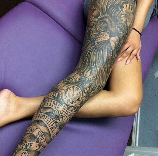 tatuagem para cobrir estrias nas pernas tribal