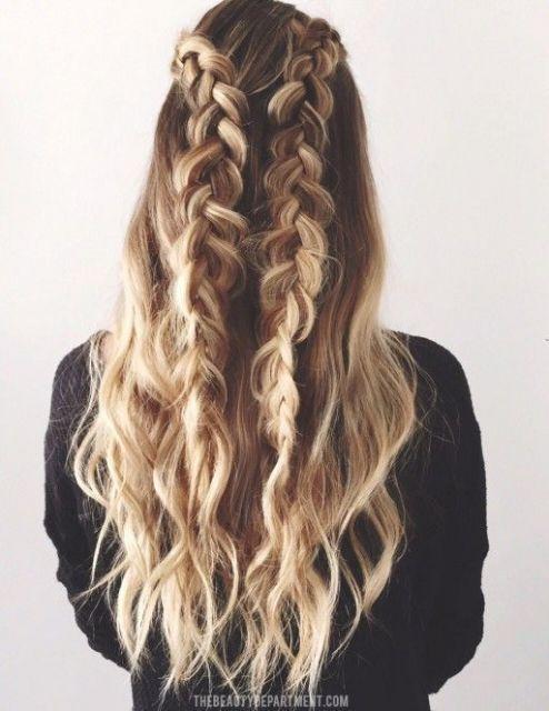 penteado semi preso cabelo longo