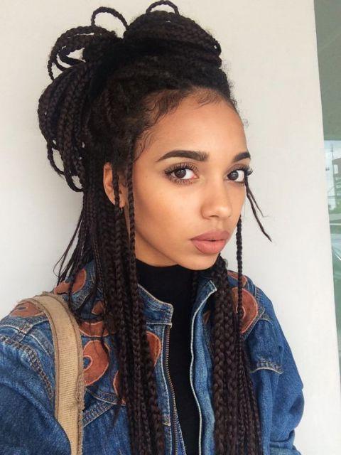 cabelo semi preso tranças