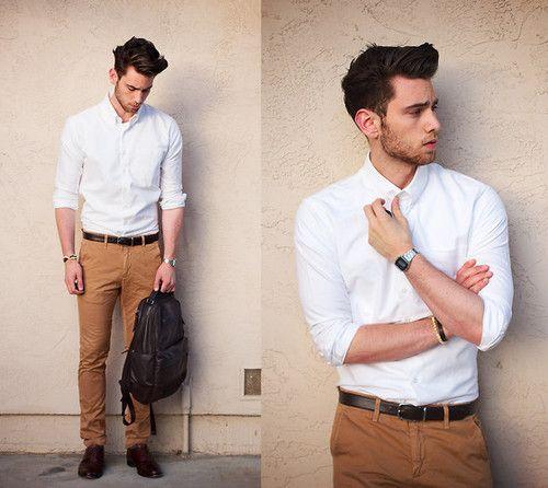 Resultado de imagem para calça bege masculina como usar