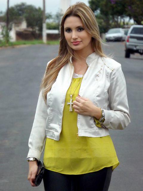jaqueta branca feminina de cetim
