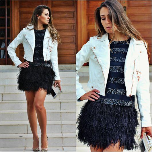 jaqueta branca feminina com vestido de festa