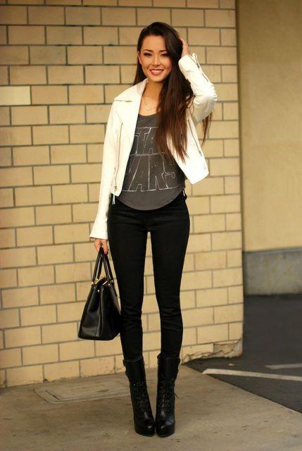jaqueta branca feminina com camiseta star wars