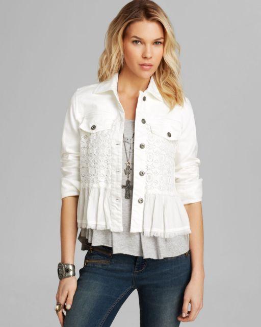 jaqueta branca feminina com babados