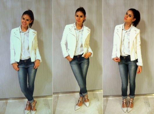 jaqueta branca feminina com calça jeans