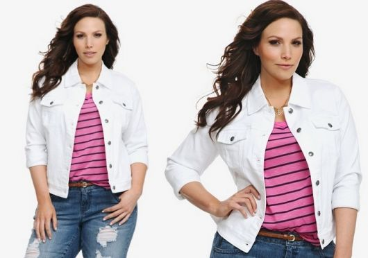 jaqueta branca feminina moda plus size