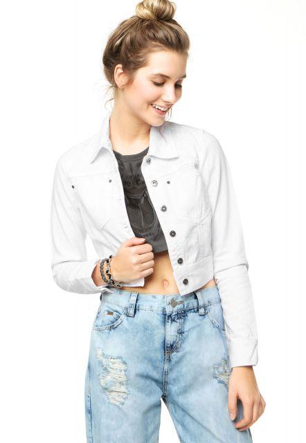 jaqueta branca feminina sarja
