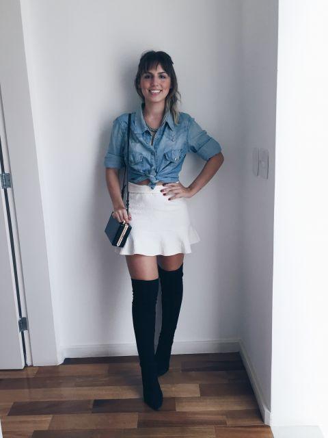look-para-rodeio-camisa-jeans-e-saia